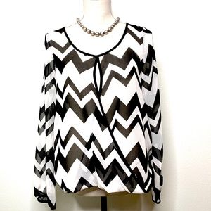 Black & White Blouse with Geographic Print - NWT